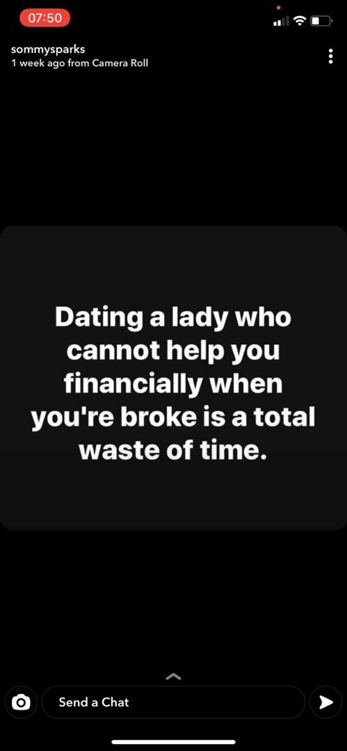 It?s a waste of time to date a lady who can?t help you financially when you?re broke - Actor Somadina Adinma