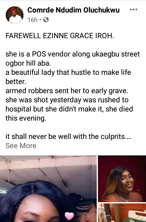 Armed robbers on Tricycle kill female PoS operator in Aba