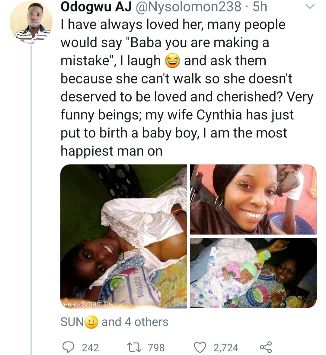 Image result for Man married to a physically disabled woman celebrates her as she gives birth to their son