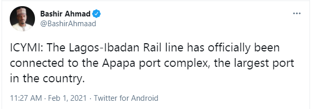 Lagos-Ibadan rail line connected to Apapa port complex