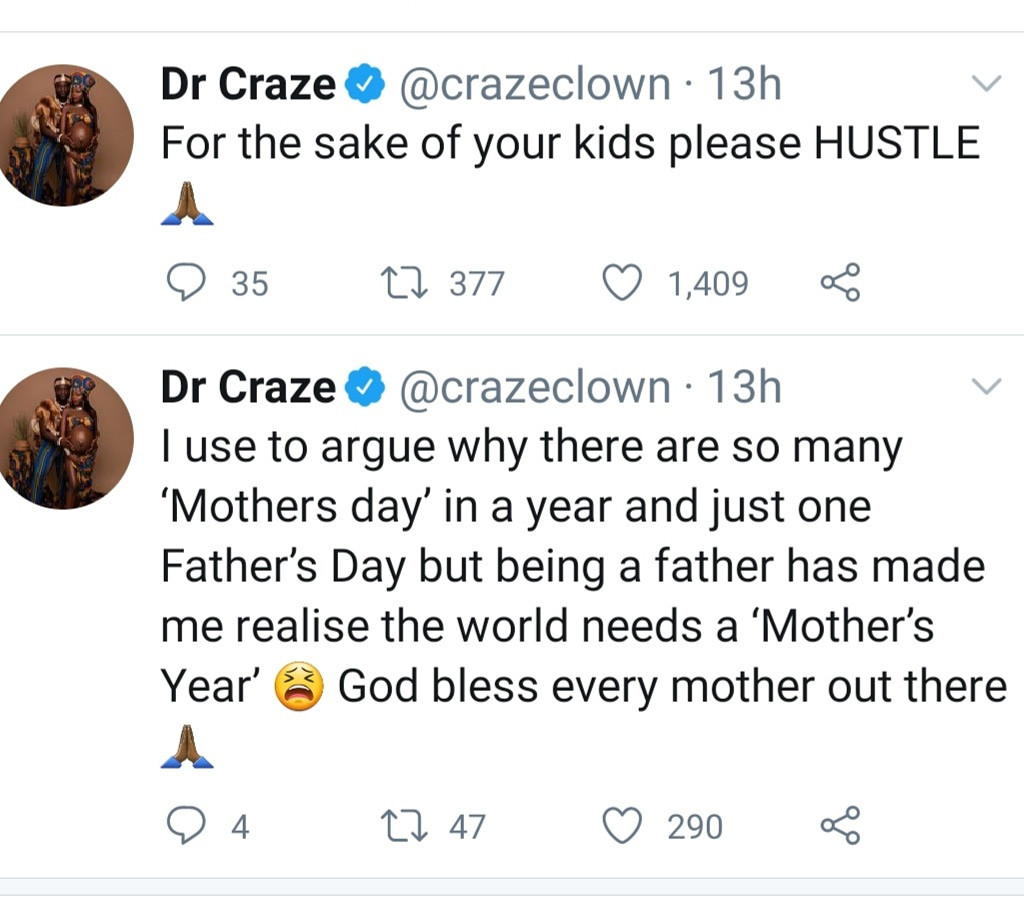 Craze Clown says being a father has helped him understand why there are multiple Mother