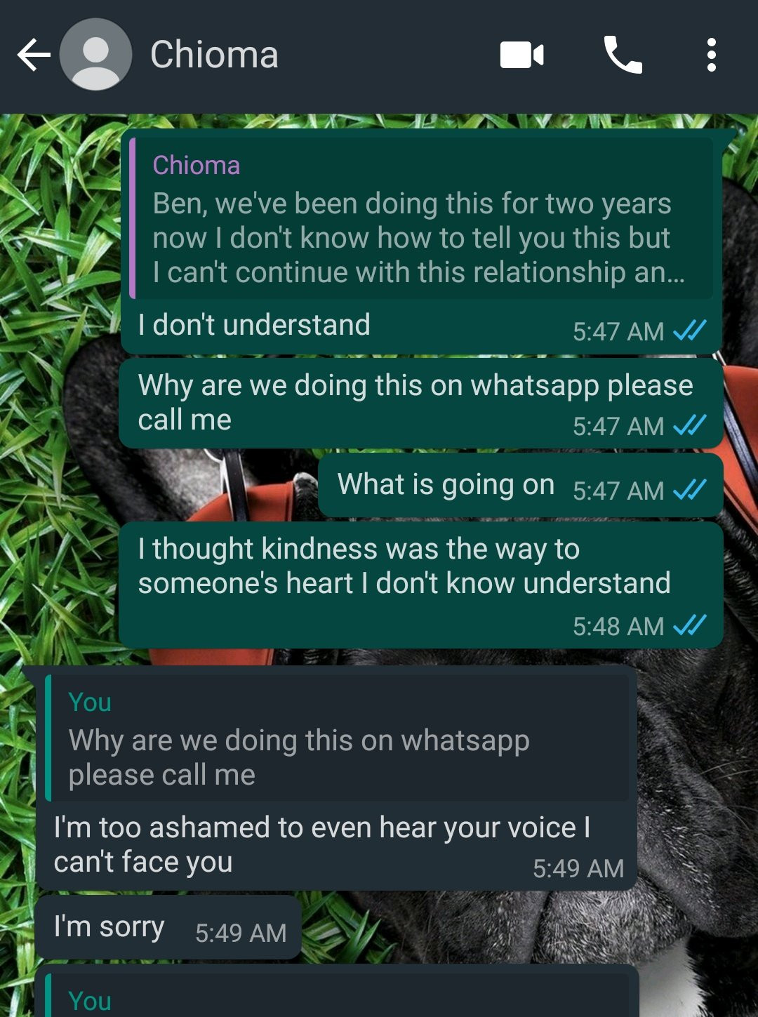 A Nigerian man has been left heartbroken after his girlfriend of two years, Chioma