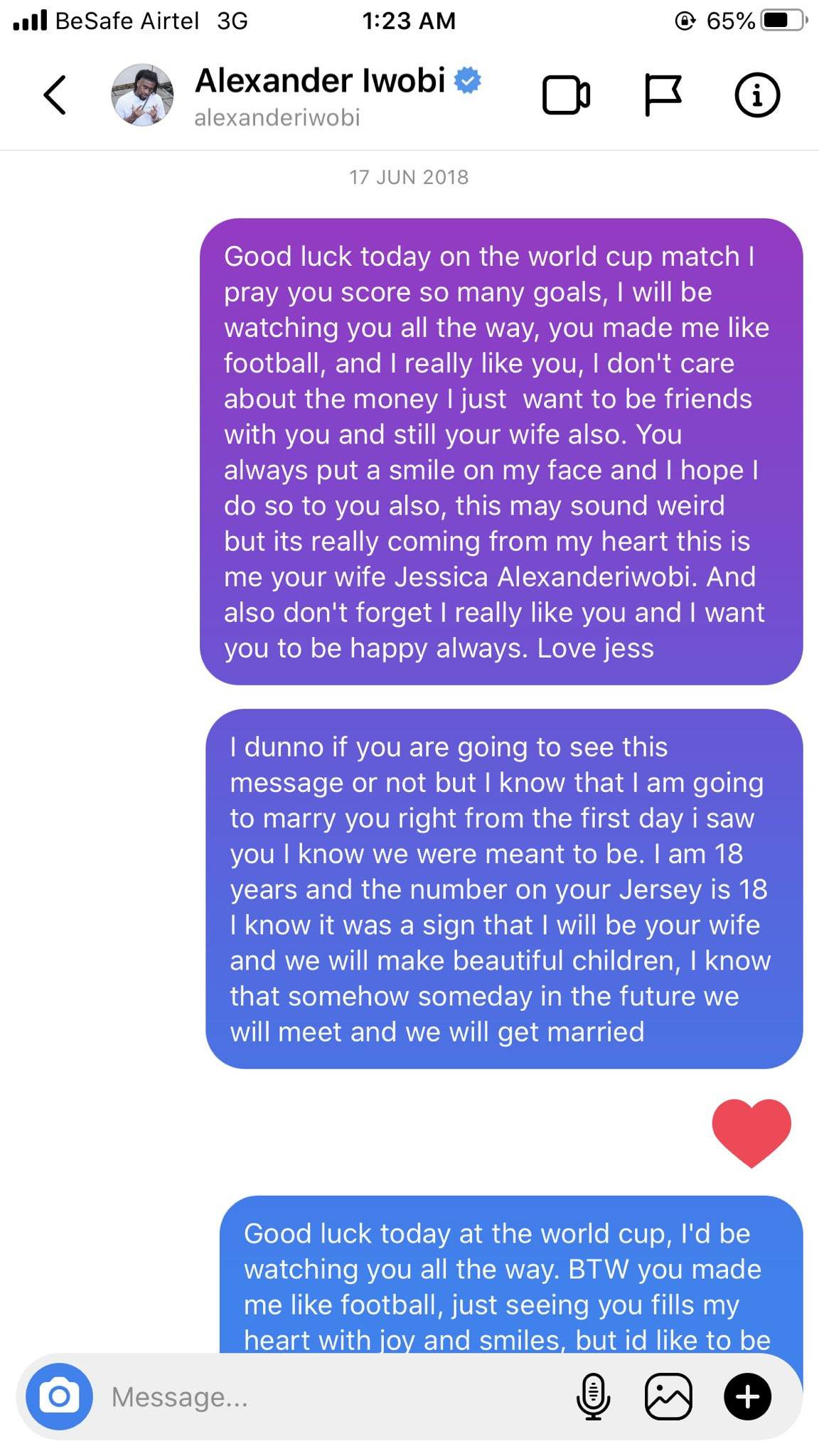 Nigerian lady shares screenshots of love messages she sent to footballer, Alex Iwobi when she was 18