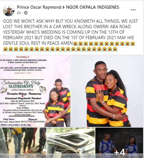 Nigerian man dies in fatal car accident just 12 days to his wedding (photos)