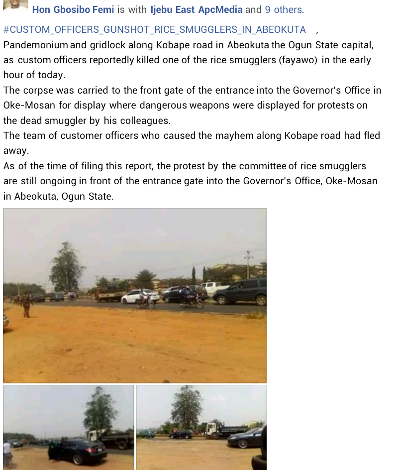 One dead, seven injured as suspected smugglers and customs clash in Ogun