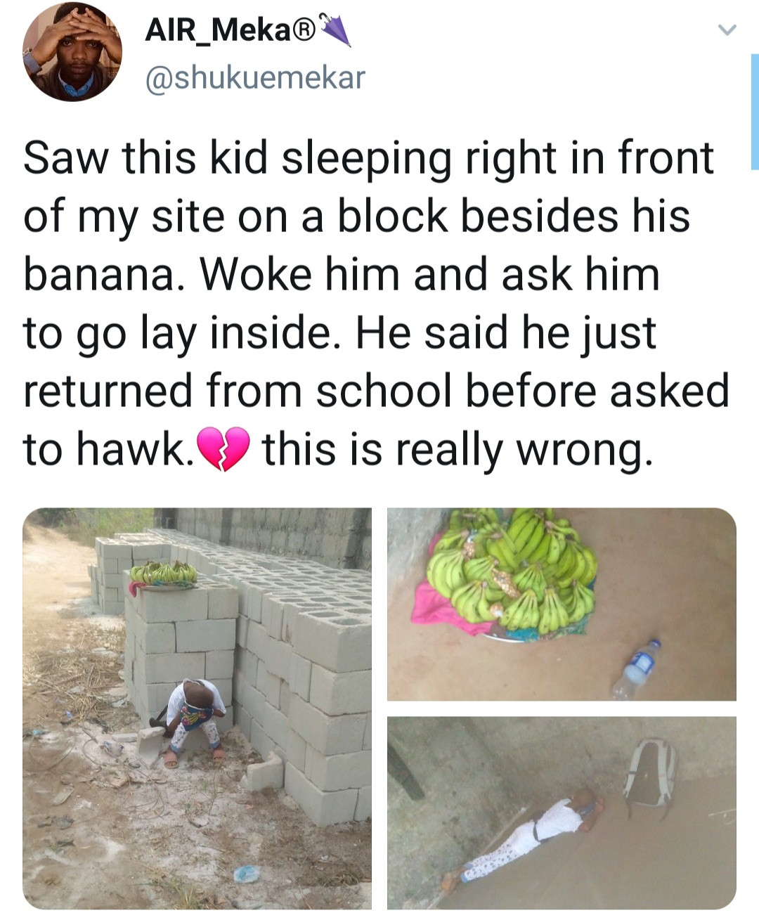 Child found sleeping in the streets after being made to hawk bananas upon his return from school