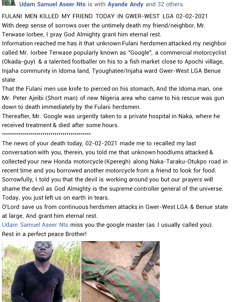 Graphic: Suspected Fulani herdsmen allegedly kill talented footballer in Benue