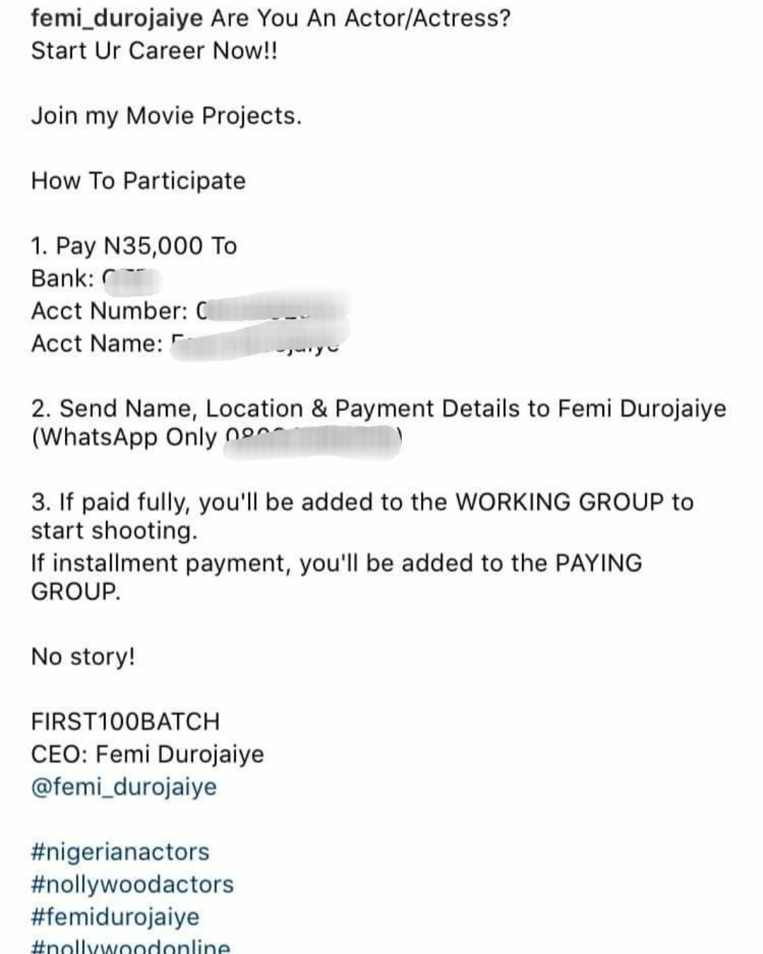 Lala Akindoju and others blast Femi Durojaiye for asking up-and-coming actors to pay 35k for movie roles