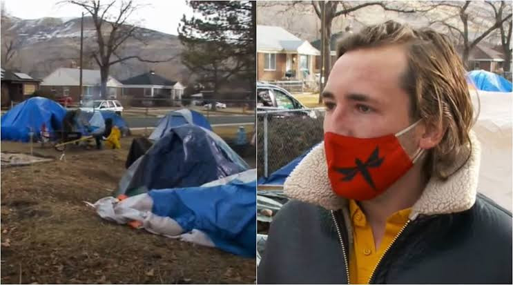 Man invites 15 homeless people to live in his front yard (photos)
