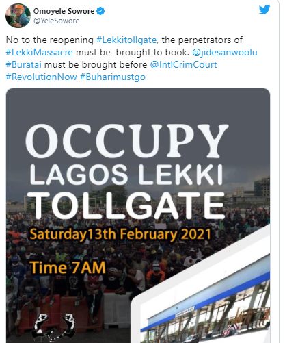 #OccupyLekkiTollgate trends as Nigerians plan to stage another protest over the reopening of Lekki tollgate on February 13