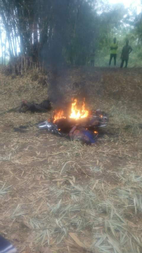 Angry villagers set two robbery suspects ablaze for attempted phone theft in Imo community (graphic photos)