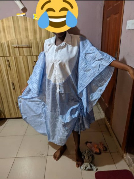 Woman shows dress her husband ordered for her and what was delivered