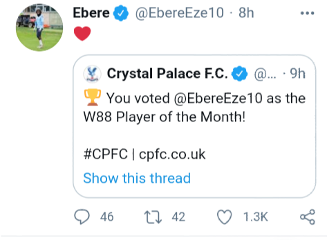 Nigerian player Eberechi Eze wins Crystal Palace player of the month for the second time