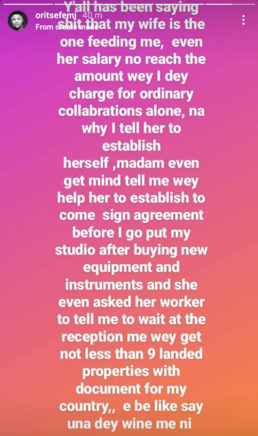 """""""Even her salary no reach"""" Oritsefemi reacts to allegations his wife Nabila is the one"""