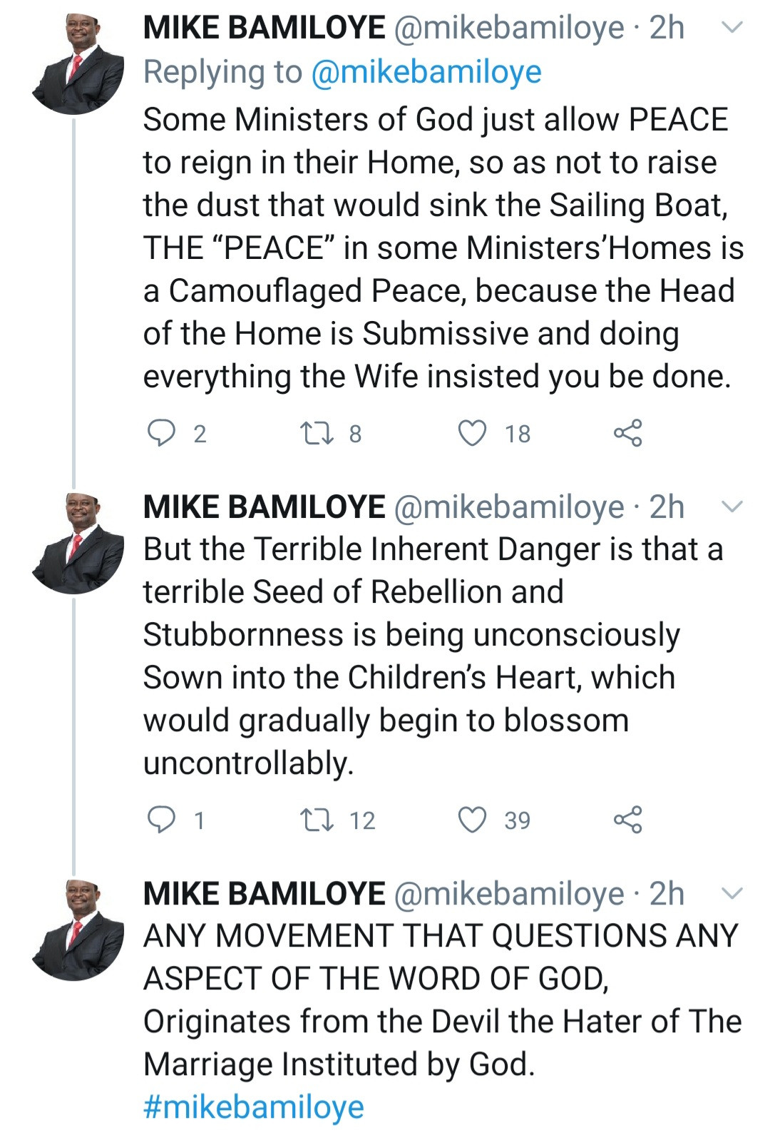 """""""Any movement that questions any aspect of the word of God originates from the devil"""" Mike Bamiloye continues to condemn feminism"""