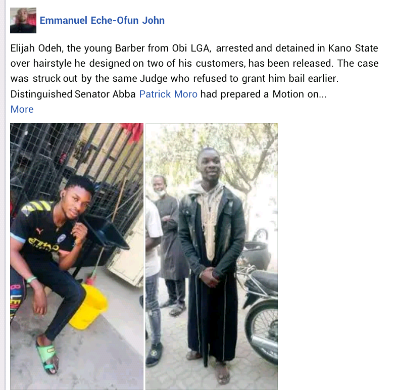 Senator Moro confirms release of young barber arrested in Kano for giving customers