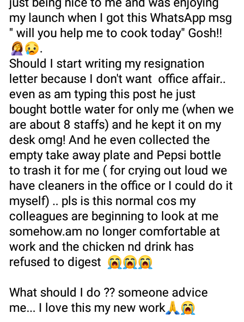 """My appointment letter says Secretary not a Cook"" - Nigerian lady tells her boss after he asked her to cook for him on her first day at work"
