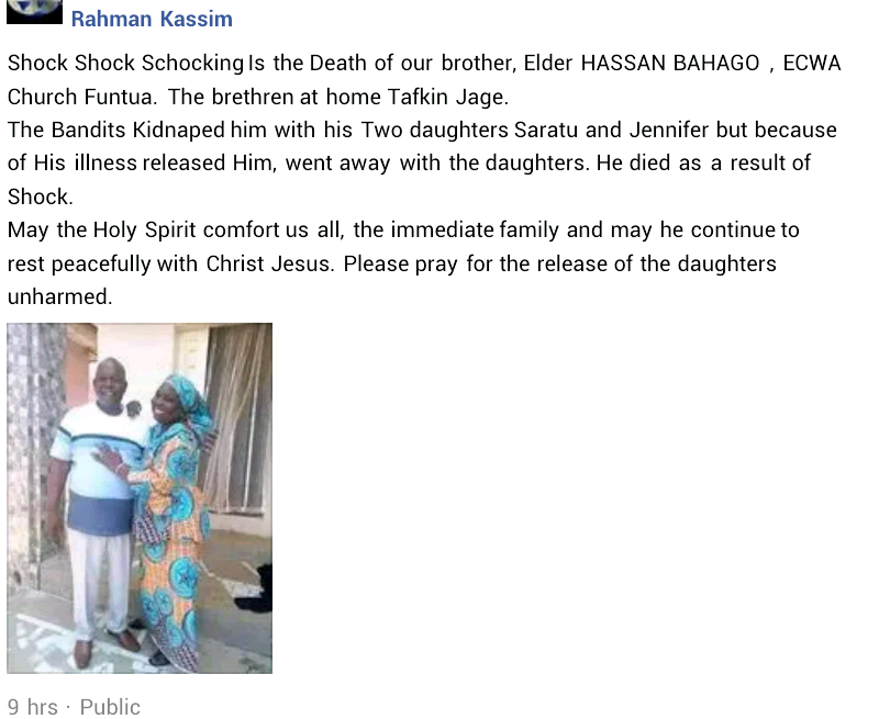 Father dies of heart attack as bandits abduct his two daughters in Katsina?