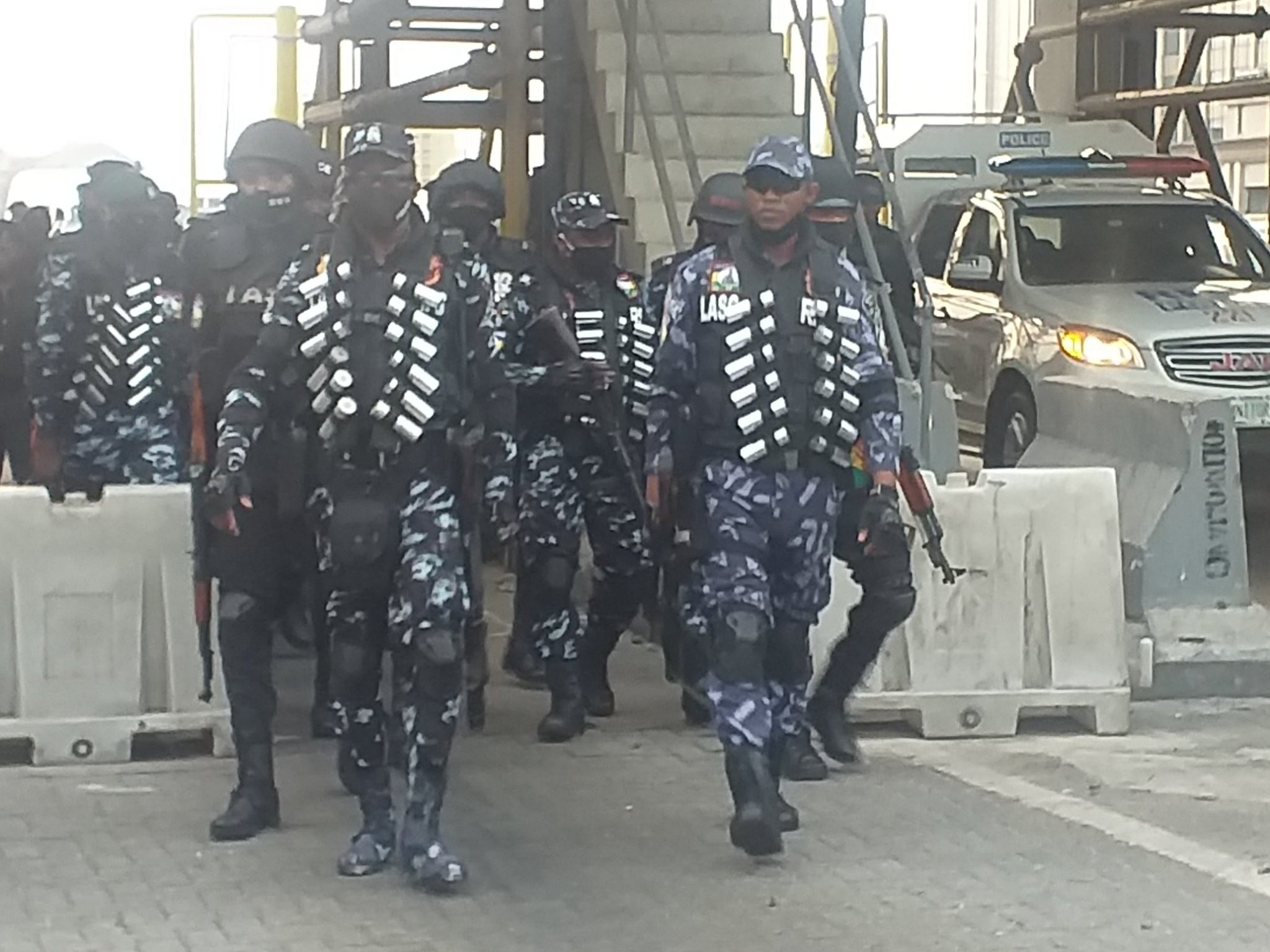 #OccupyLekkiTollGate: Heavy police presence at Lekki toll gate (photos/videos)