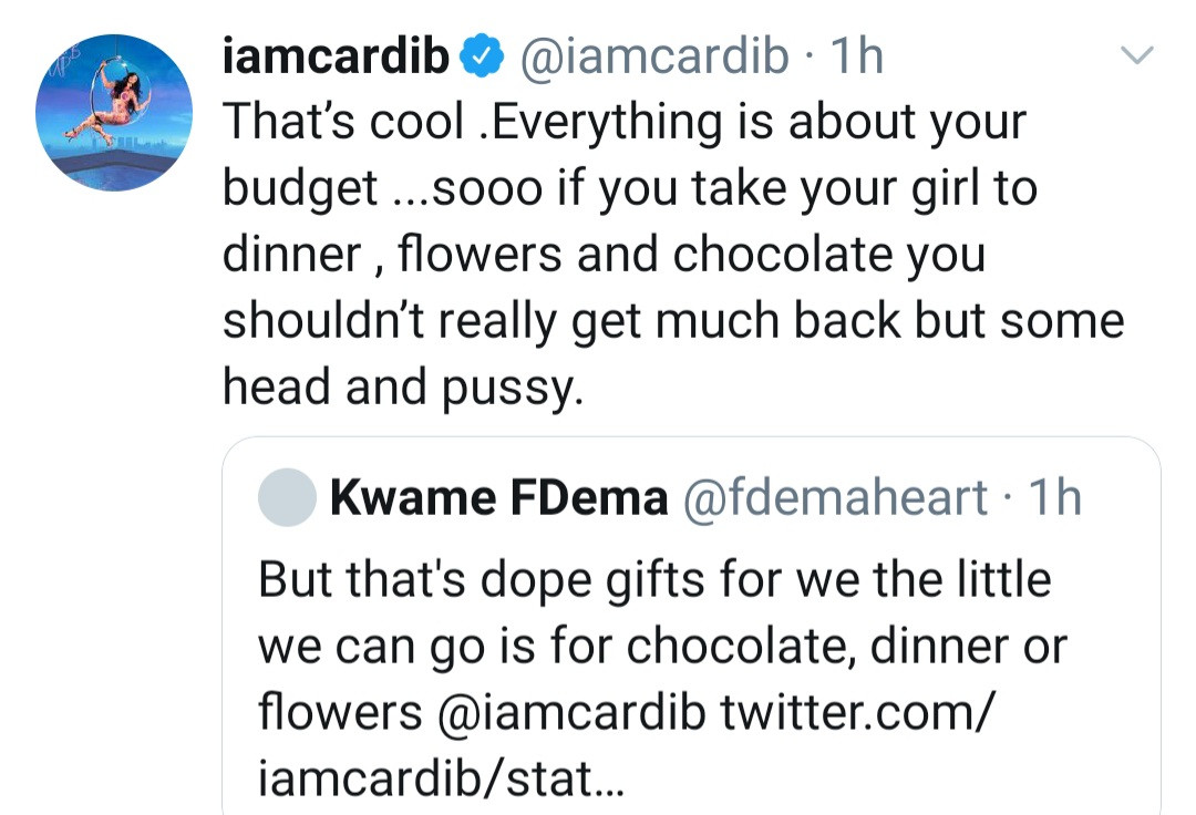 Cardi B replies critics over buying her man a Lamborghini but advising women to give their men grass if they get only flowers