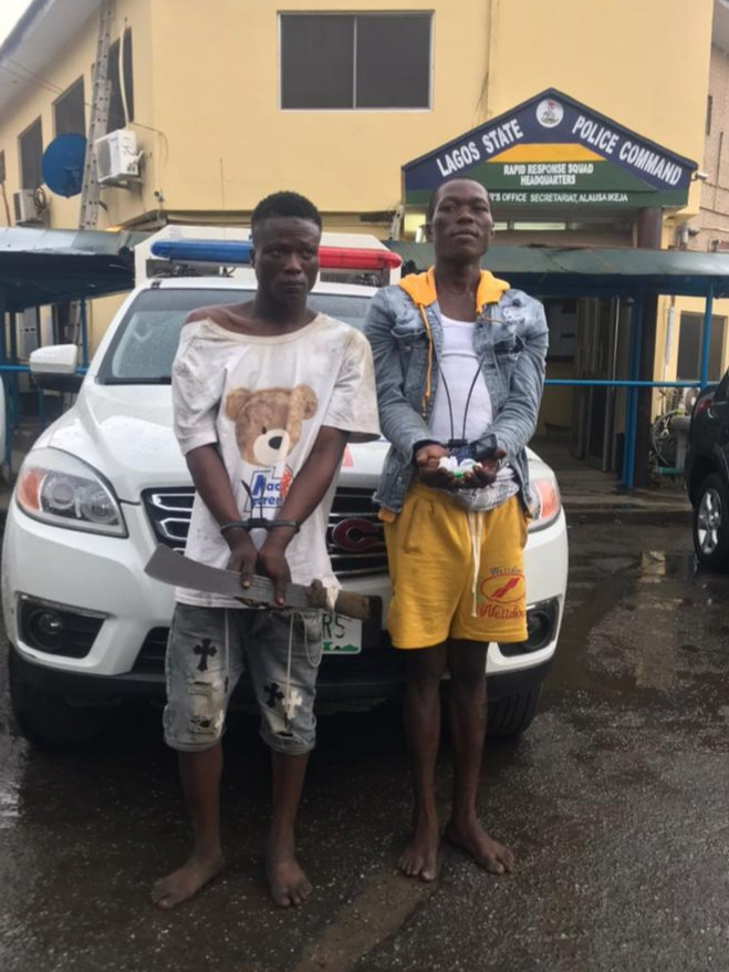 Lagos state police command arrests 8 suspected traffic robbers (photos)