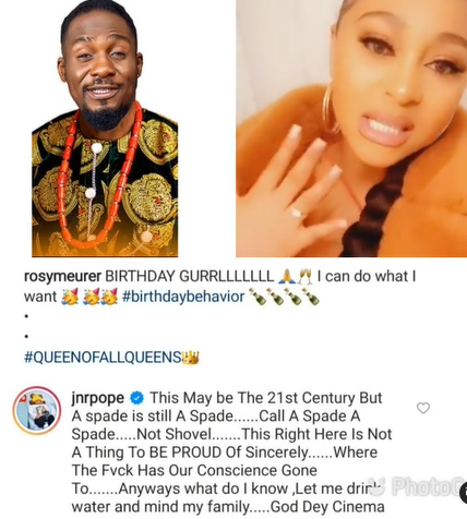 This is not something to be proud of - Actor Junior Pope reacts to actress Rosy Meurer