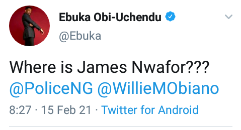 """Where is James Nwafor?"" - Ebuka Obi-Uchendu queries Governor Obiano, Police on the whereabouts of former OC SARS Awkuzu"