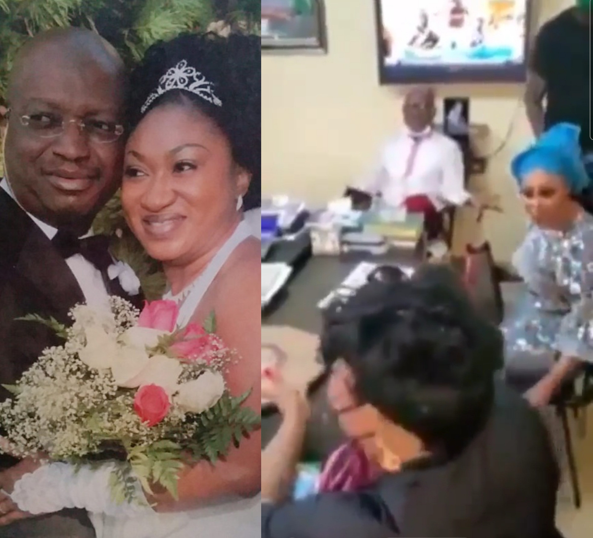 Husband calmly watches estranged wife and husband's mistress 'fight' in DPO's office (video)