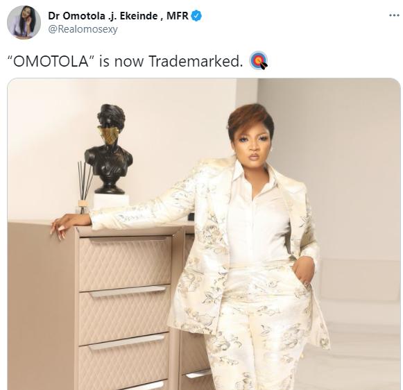 Omotola Jalade-Ekeinde trademarks her name