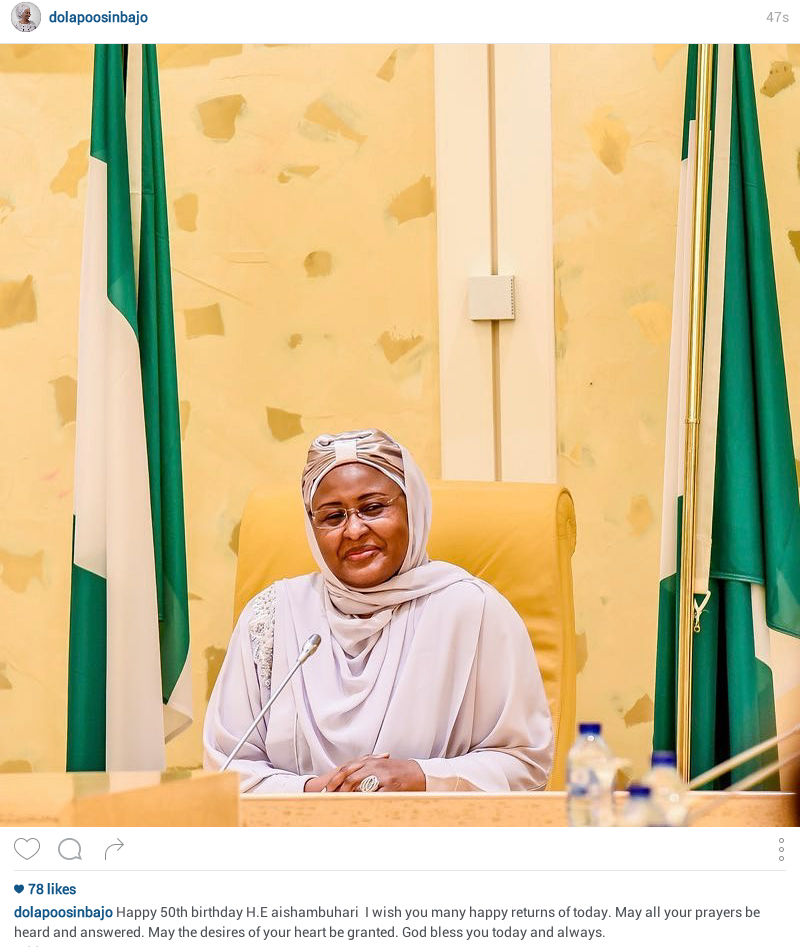 Dolapo Osinbajo celebrates Aisha Buhari on her 50th birthday
