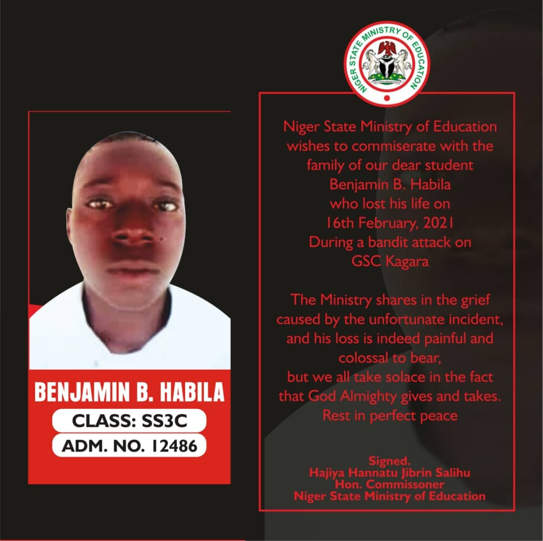 Photo of the student killed during attack on Government Science College Kagara, Niger State