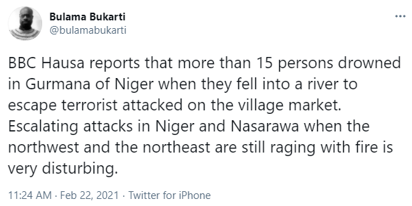 15 persons reportedly drown while running from a ********* ****** in Niger state