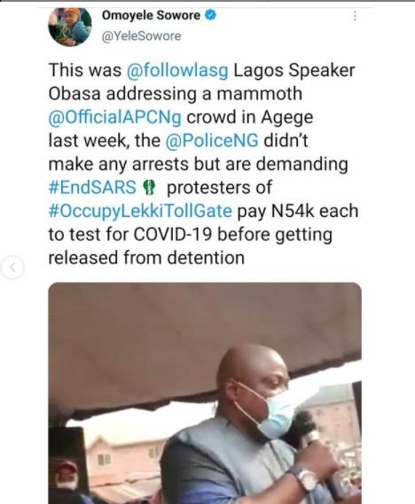 COVID19: Omoyele Sowore criticizes Nigerian police for turning blind eye when Lagos state speaker, Mudashiru Obasa, gathered a mammoth crowd in Agege (video)