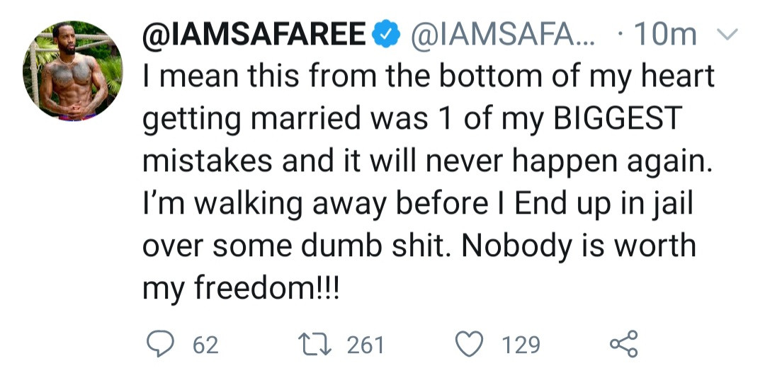 """Getting married is one of my biggest mistakes""- Safaree"