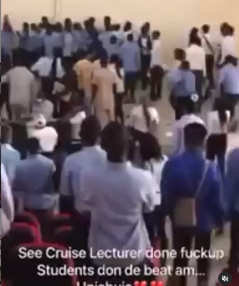 University of Abuja lecturer allegedly beaten by Banking and Finance students for reportedly collecting answer scripts 45 minutes into a 3-hour exam (video)
