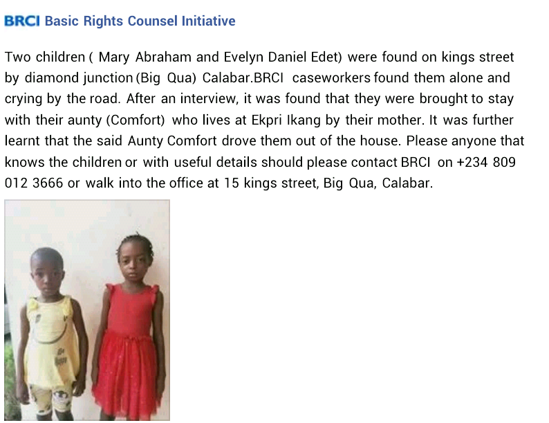 NGO rescues two children found crying on the street after they were allegedly thrown out by their aunt in Calabar