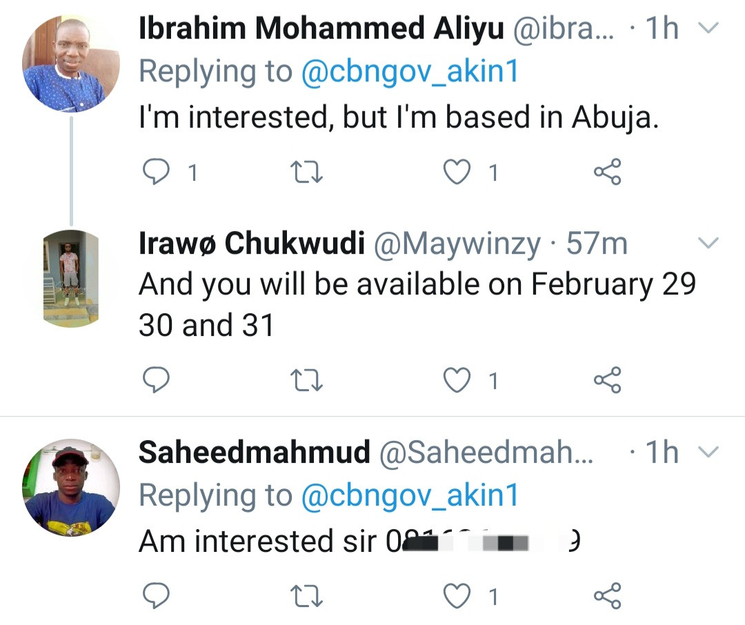 Applications pour in from Nigerians as man advertises 100k per day job for Feb 29, 30, and 31