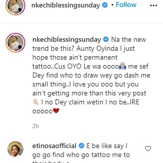 Nkechi Blessing Sunday apologizes for calling out follower who tattooed her name on her arm