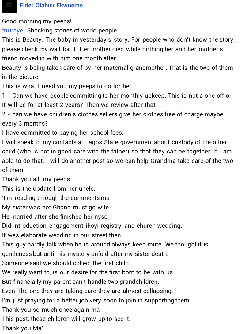 Nigerian lady narrates how her late sister