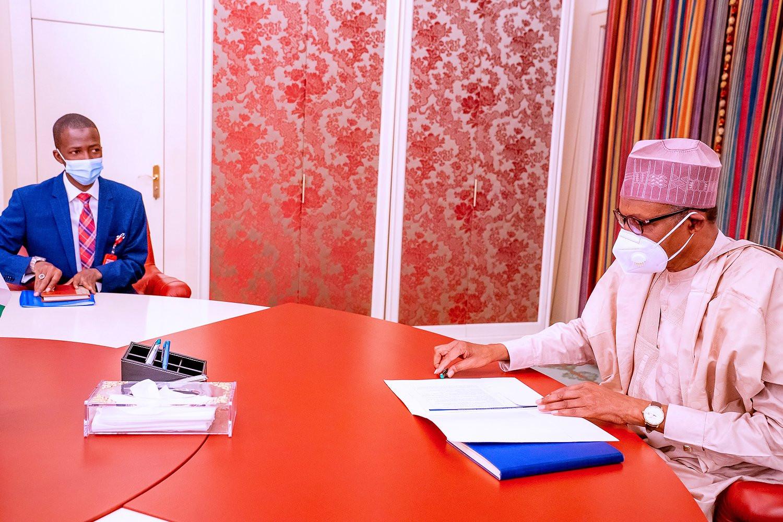 President Buhari meets newly appointed EFCC Chairman, Abdulrasheed Bawa