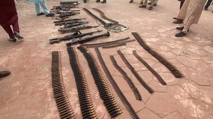 Son of notorious bandit leader, three others surrender arms, anti aircraft guns, rocket launchers, live ammunitions to Zamfara State Govt