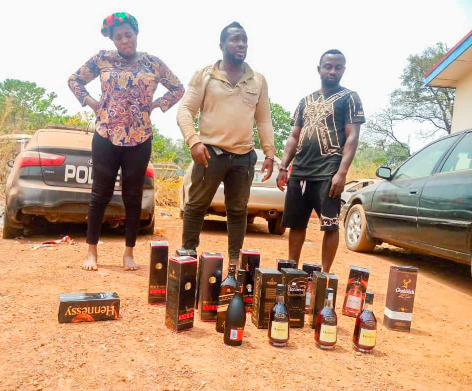 Couple arrested in Enugu for stealing beverages at supermarkets by swapping them with fake and adulterated ones