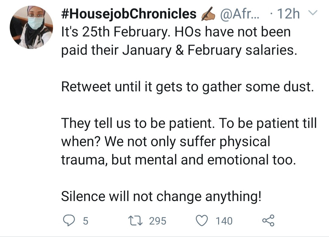 """""""House officers have not been paid their Jan and Feb salaries"""" Medical doctor complains"""