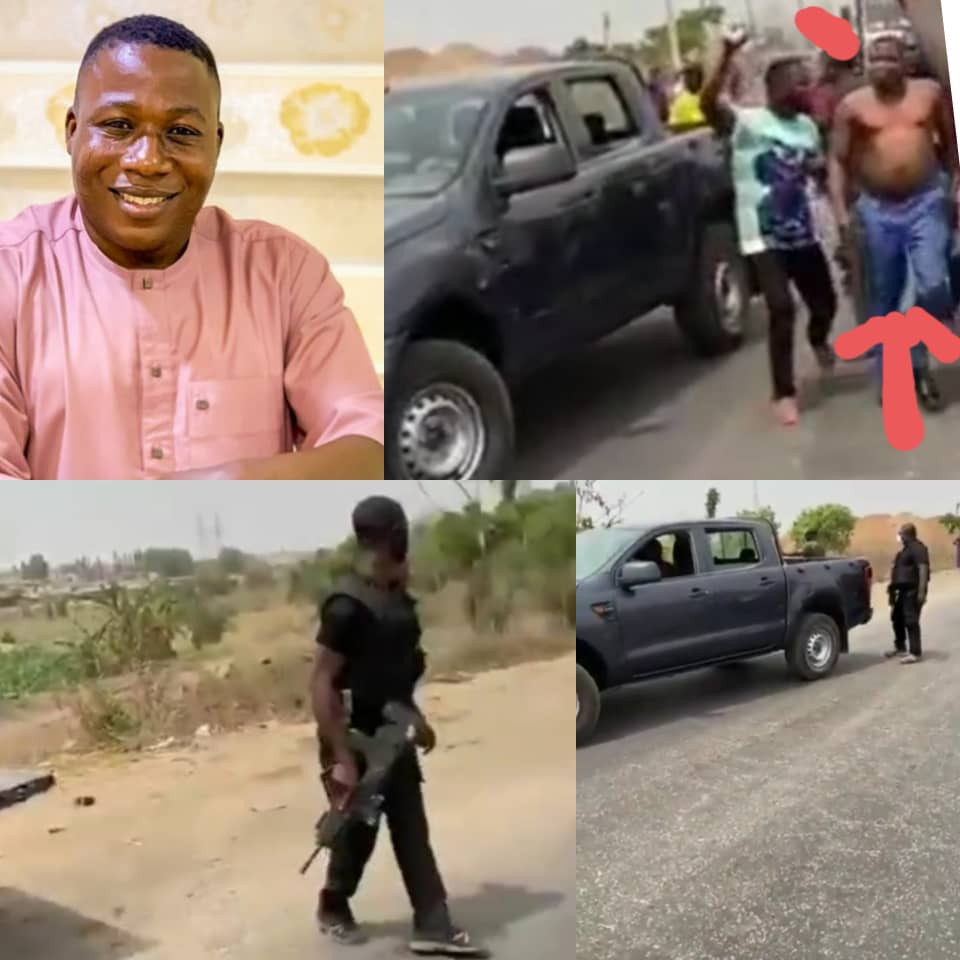 Tension as a team of police officers and DSS attempt to arrest Yoruba activist, Sunday Igboho (video)