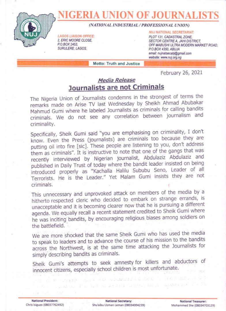 In saner climes, Sheikh Gumi should have been behind bars - National Union of Journalists