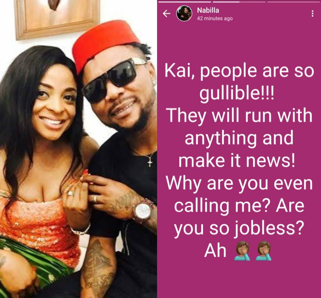 """""""People are so gullible"""" Nabila writes after her husband, Oritsefemi, shared video of them together to give the impression they are back together"""
