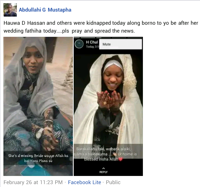 Photos: Boko Haram releases newly wed bride abducted in Borno