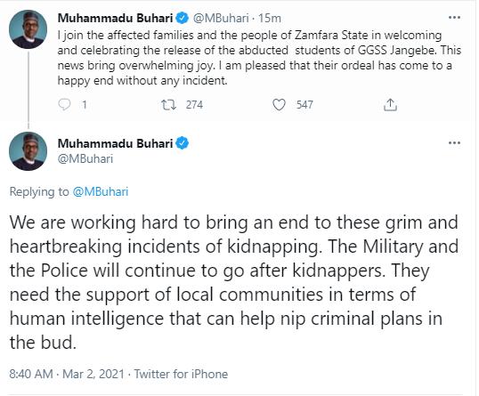 This news brings overwhelming joy - President Buhari celebrates the return of the abducted Zamfara schoolgirls