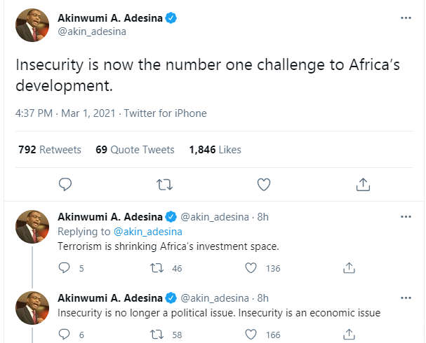Insecurity is now the number one challenge to Africa?s development - AfDB President, Akinwumi Adesina
