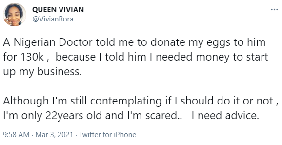 Nigerian feminist seeks advice after a doctor asked her to donate her eggs to him for N130k so she can raise money for her business